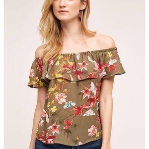 Anthropologie off the shoulder floral top
